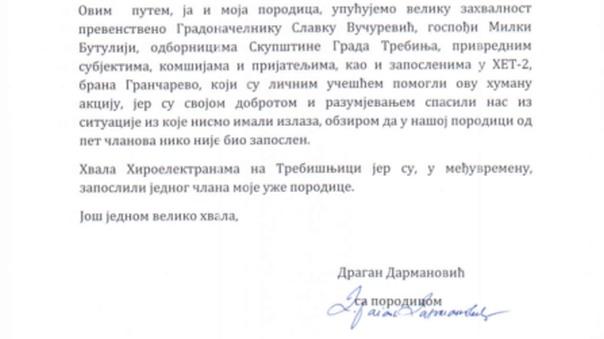 Pismo zahvalnosti porodice Darmanović