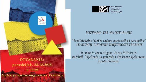 Најава: Изложба радова наставника и сарадника Академије ликовних умјетности
