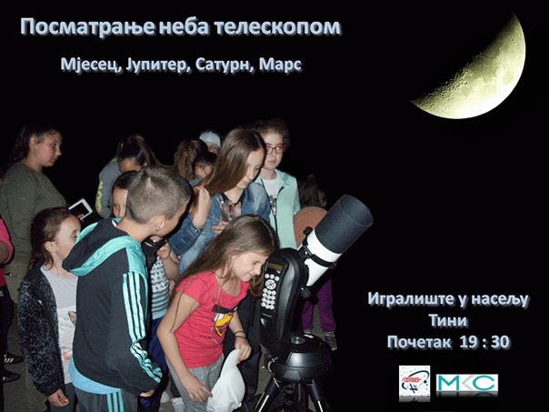 На Тини вечерас посматрање небеских тијела кроз телескоп