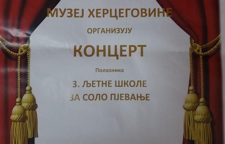 Музеј Херцеговине: Вечерас концерт полазника љетне школе за соло пјевање