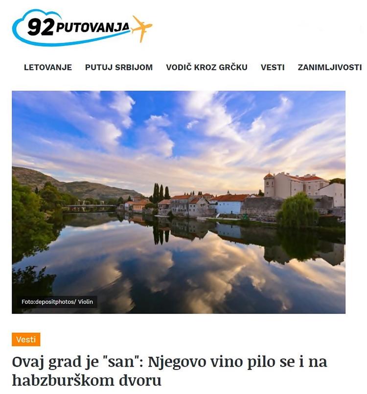 """Drugi o nama - OVAJ GRAD JE """"SAN"""": NJEGOVO VINO PILO SE I NA HABZBURŠKOM DVORU"""